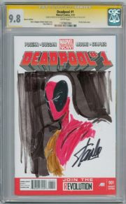 Deadpool #1 CGC 9.8 Signature Series Signed x 2  Stan Lee Benitez sketch Marvel Movie comic book